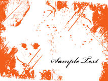 SAMPLE TEXT. Orange inkblot isolated on white Stock Photo