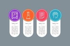Sample Text Banner, Colorful Circle with Icons. Vector illustration with safe and paper with strategy text, brainstorm activity and chess queen figure Stock Images