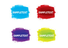 Sample text. Brush strokes in different vibrant colours with sample text on top Royalty Free Stock Images