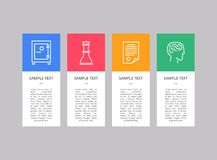 Sample Text and Logos Set on Vertical Rectangles. Isolated on bright grey backdrop, chess figure and closed safe, infographic page and human head icons Royalty Free Stock Photos