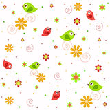 Sample textures with flowers and birds Stock Photo