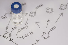 Sample vial on the paper Royalty Free Stock Photo