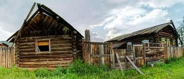 sample of wooden architecture in the Baikal village. Wood construction royalty free stock photography
