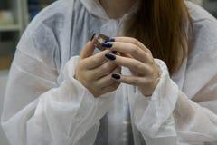 Sample of working process in nanotechnology laboratory of cosmetic production. Nano lip cream stock photo