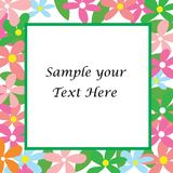 Sample your text here card with colorful flower Stock Images