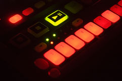 Sampler Lights. Closeup of drum machine bright Lights with buttons against black Royalty Free Stock Photography