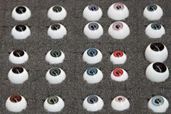 Samples of artificial eyes Royalty Free Stock Photos