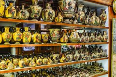 Samples of ceramic products of modern masters of Greece. Rhodes, Greece royalty free stock image
