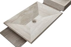 Samples of ceramic sink. Close up stock images