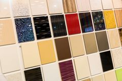Samples of a ceramic tile in shop Stock Image