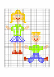 Samples - children - for knit. Two children, a young and a girl, are here noted on a graphic paper exactly. it serves as template for knits, crochets and sticken vector illustration