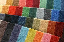 Samples of color of a carpet covering. Closeup Stock Image