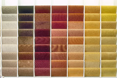 Samples of color from carpets Stock Photos