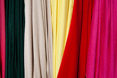 Samples of colored cloth. Fabric Color samples of stock clothes Stock Photos