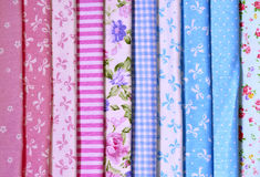 Samples of colored fabrics. Stock Photos