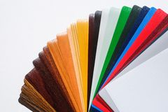 Samples of the colored lamination. The color palette on the table stock photography
