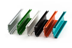 Samples of colorful aluminum profiles Stock Photography