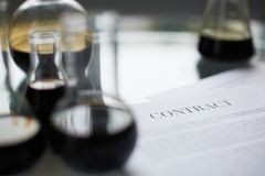 Samples and contract Stock Image