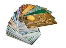 Samples of credit cards without the name of the owner, without the payment system and without a bank name royalty free stock photo