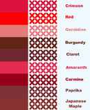 Samples cross stitch in red palette of colors with names Royalty Free Stock Images
