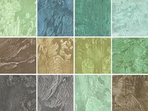 Samples of decorative coating for walls in green colo Royalty Free Stock Photos