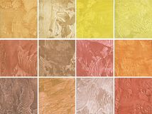 Samples of decorative coating for walls in red and yellow color Stock Photography