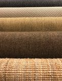 Samples of different woven carpet texture from sisal and natural Royalty Free Stock Images