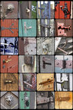 Samples - door handles and fittings in old historic buildings Stock Photos
