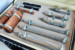 Samples of electric power cable at exhibition Stock Images