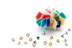 Samples of embroidery threads and buttons for clothes royalty free stock photos