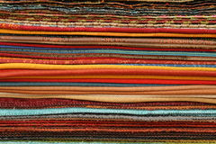 Samples of fabric. Multy colored samples of fabric to serve as background Stock Photo