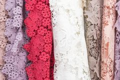 Sample of guipure fabric royalty free stock image