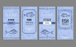 Samples of Fish menu Templates Decorative Frames. Samples of fish menu templates with decorative frames in blue color. Seafood cuisine list of dishes, gourmet vector illustration