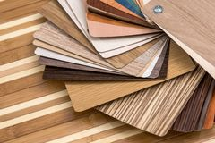 Samples of furniture or laminate on desk stock photos