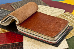 Samples of genuine leather. Royalty Free Stock Photography