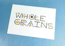 Samples of Healthy Food Whole Grains. Small samples of whole grains, which are healthy food, including brown rice, quinoa, ragi, sorghum, oats, corn, wheat Royalty Free Stock Photo