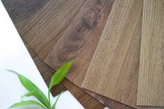 Samples of laminate make a new floor for renovate or new floor in the house or the building or commercial building stock photos