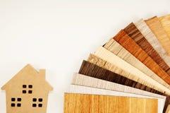 Samples of laminate and vinyl floor tile on isolate white Backgr Stock Photography