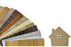 Samples of laminate and vinyl floor tile with renovate love house on isolate background. Renovate house by designer change floor with wood texture laminate and stock images