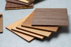 Samples of material, wood , on concrete table.Interior design se Stock Photo