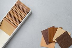 Samples of material, wood , on concrete table.Interior design se Royalty Free Stock Photography