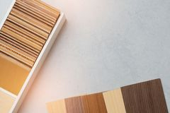 Samples of material, wood , on concrete table.Interior design select material for idea.  stock images