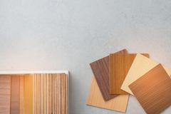 Samples of material, wood , on concrete table.Interior design se Royalty Free Stock Image