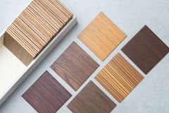 Samples of material, wood , on concrete table.Interior design se Stock Images