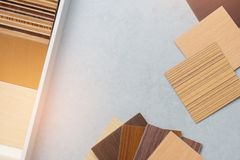Samples of material, wood , on concrete table.Interior design select material for idea.  stock photography