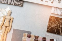Samples of material, wood , on concrete table.Interior design select material for idea.  stock image