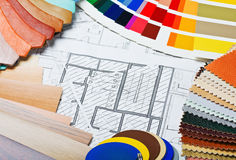 Samples of materials colors, upholstery and cover Royalty Free Stock Photos