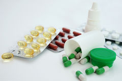 Samples of medicines, tablets, capsules and vitami Stock Images