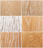 Samples of oak flooring. Samples of differently finished oak floor boards Royalty Free Stock Images
