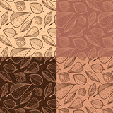 Samples patterns. Four seamless pattern with leaves in shades of brown Stock Photography